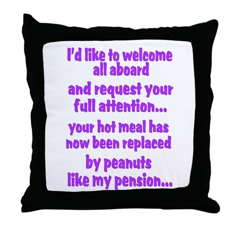 attention purple Throw Pillow