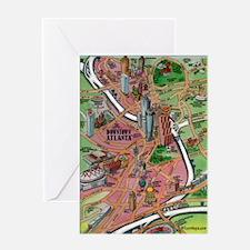 Cool Atlanta cartoon map Greeting Card