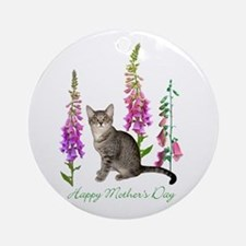 Cats in Foxglove Ornament (Round)