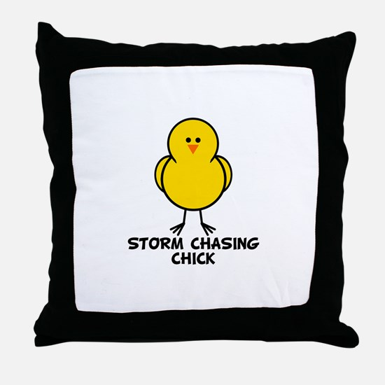 Storm Chasing Chick Throw Pillow