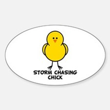 Storm Chasing Chick Oval Decal