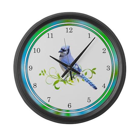 Blue Jay Bird Large Wall Clock