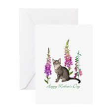 Cats in Foxglove Greeting Card