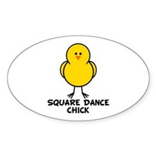 Square Dance Chick Oval Decal