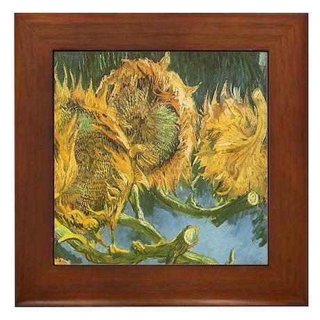 Van Gogh Four Cut Sunflowers Framed Tile