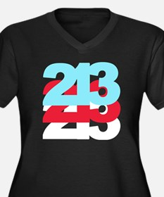 213 Women's Plus Size V-Neck Dark T-Shirt