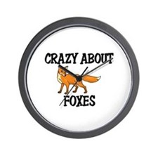 Crazy About Foxes Wall Clock