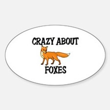 Crazy About Foxes Oval Decal