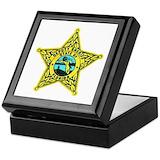 Deputy sheriff Square Keepsake Boxes