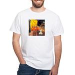 Cafe / Scottie (w) White T-Shirt