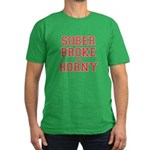 Sober Broke and Horny Men's Fitted T-Shirt (dark)