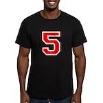Varsity Font Number 5 Red Men's Fitted T-Shirt (da