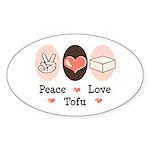 Peace Love Tofu Oval Sticker (10 pk)