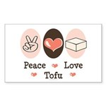 Peace Love Tofu Rectangle Sticker