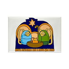 Christmas Cat Nativity Scene Rectangle Magnet