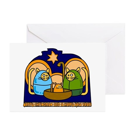 Christmas Cat Nativity Scene Greeting Cards (Packa