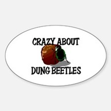 Crazy About Dung Beetles Oval Decal