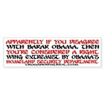 PROUD RIGHT WING EXTREMIST! Bumper Sticker