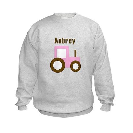 Aubrey - Pink Tractor Kids Sweatshirt