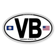 Virginia Beach VB Oval Oval Decal
