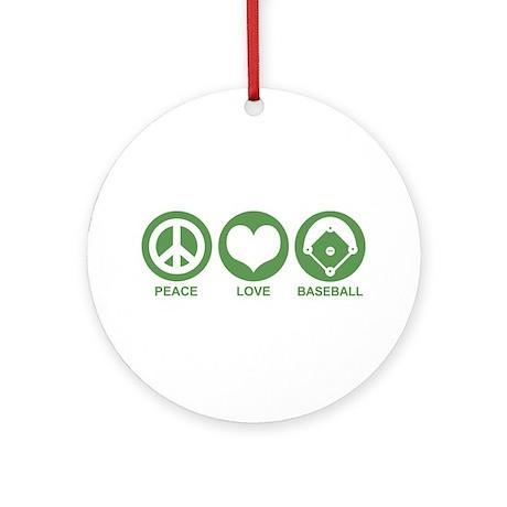 Peace Love Baseball Ornament (Round)
