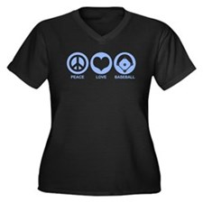 Peace Love Baseball Women's Plus Size V-Neck Dark