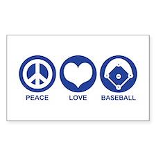 Peace Love Baseball Rectangle Decal