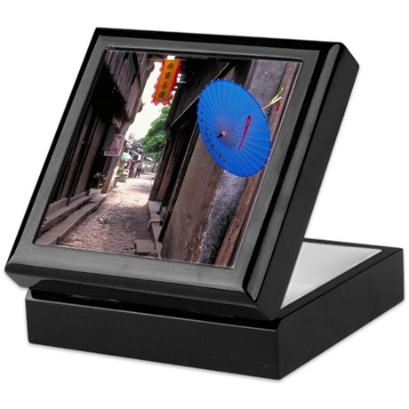 China Keepsake Box: <br> Umbrella in an alley