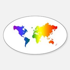 Gay Pride All Over the World Oval Decal