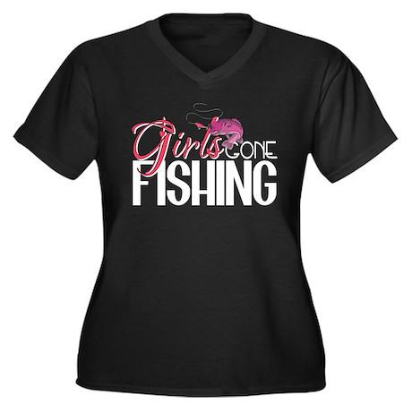 Girls Gone Fishing Women's Plus Size V-Neck Dark T