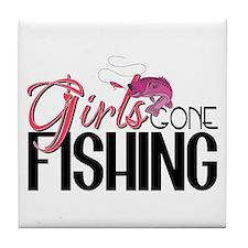Girls Gone Fishing Tile Coaster