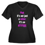 Pink Attitude Women's Plus Size V-Neck Dark T-Shir