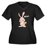 Love Bunny Women's Plus Size V-Neck Dark T-Shirt