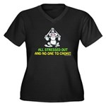All Stressed Out! Women's Plus Size V-Neck Dark T-