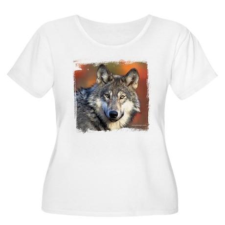 Wolf Photograph Women's Plus Size Scoop Neck T-Shi