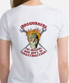Ladies- Ironworker Flaming skull & cross wrenc