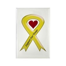 Support our Troops Yellow Ribbon Rectangle Magnet