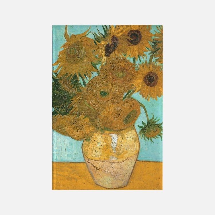 Van Gogh Vase with Sunflowers Rectangle Magnet (10