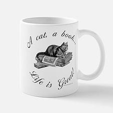 A Cat, A Book Small Small Mug