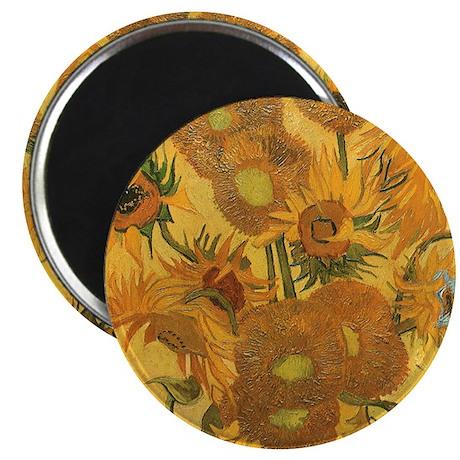 "Van Gogh Vase w Sunflowers 2.25"" Magnet (100 pack)"