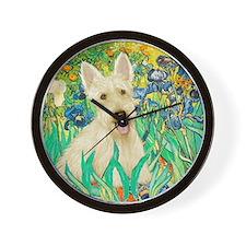 Irises / Scottie (w) Wall Clock