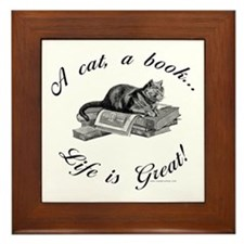 A Cat, A Book Framed Tile