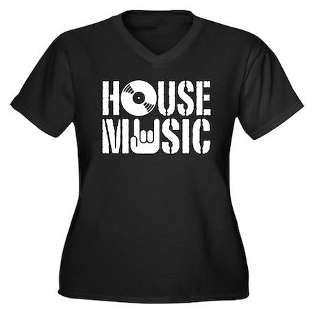 House Music Women's Plus Size V-Neck Dark T-Shirt