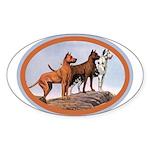 Three Great Danes Oval Sticker