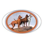 Three Great Danes Oval Sticker (10 pk)