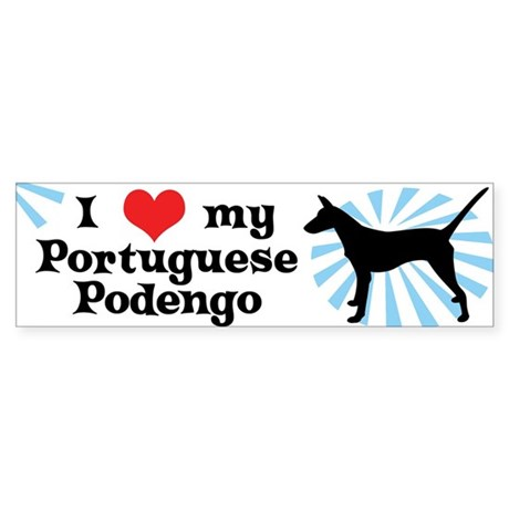 I Love My Portuguese Podengo Bumper Sticker Smooth