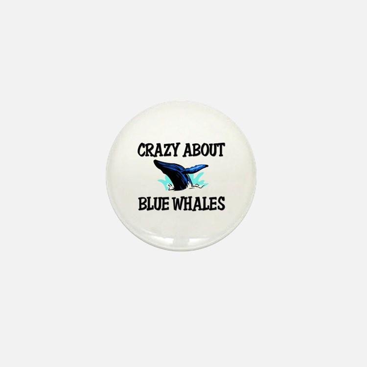 Crazy About Blue Whales Mini Button