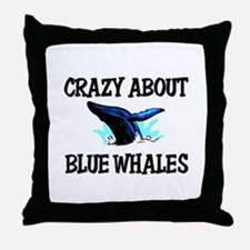 Crazy About Blue Whales Throw Pillow