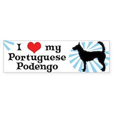 I Love My Portuguese Podengo Bumper Sticker (Wire)