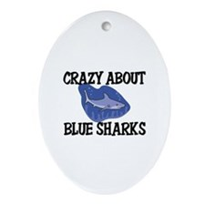 Crazy About Blue Sharks Oval Ornament